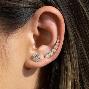 Jewelry - Rose gold 8mm CZ halo studded earrings